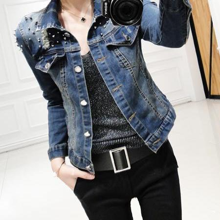 Women's Distressed Studded Denim Jacket
