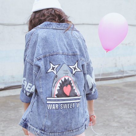 Oversized Denim Jacket with Shark Print