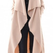 Cardigan Solid Asymmetric Neck Long Coat