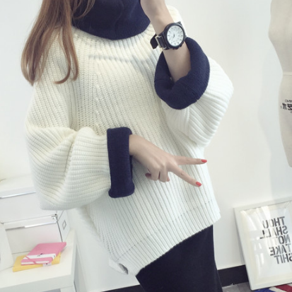 Korean Solid Color Knit Big Pullover Splicing Sweater
