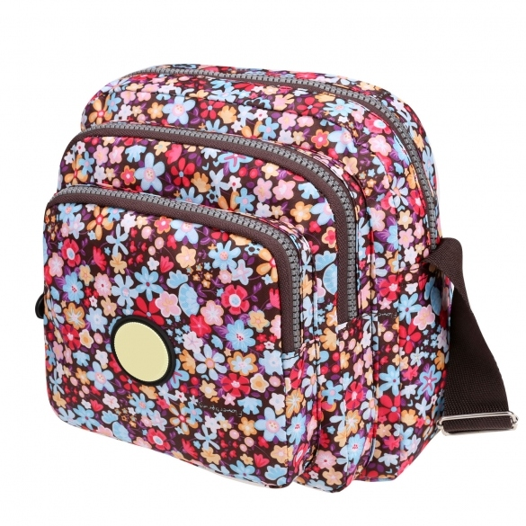 Women Nylon Small Square Floral Print One Shoulder Bag Messenger Bag
