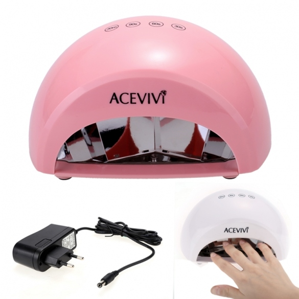 Acevivi New Professional Nail Art 12W LED Manicure Light Lamp Curing Gel Nail Polish Dryer EU Plug White Pink