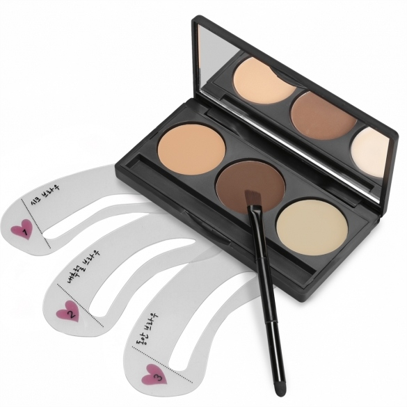 ACEVIVI 3 Colors Eyebrow Powder Eye Brow Palette With 3 PCS Eyebrow Stencils Set