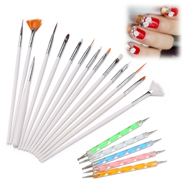 20pcs Nail Art Design Set Dotting Painting Drawing Polish White Brush Pen Tools