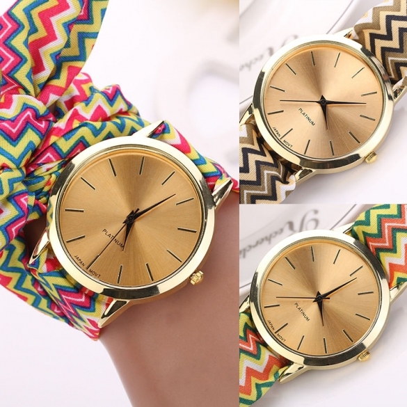 Hot Fashion Women's Cloth Band Quartz Analog Bracelet Design Wrist Watch