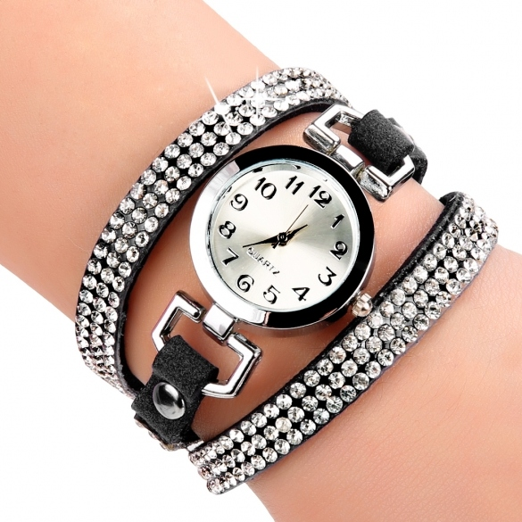 Korean Fashion Women Rhinestone Bracelet Round Dial Analog Quartz Casual Watch Wristwatch