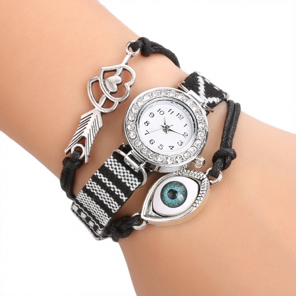 Women's Handmade Friendship Bracelet Watch Rhinestone Round Dial Quartz Wristwatch