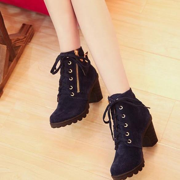 Women Retro Buckle High Heel Lace Up Platform Martin Black Blue Pumps Boots