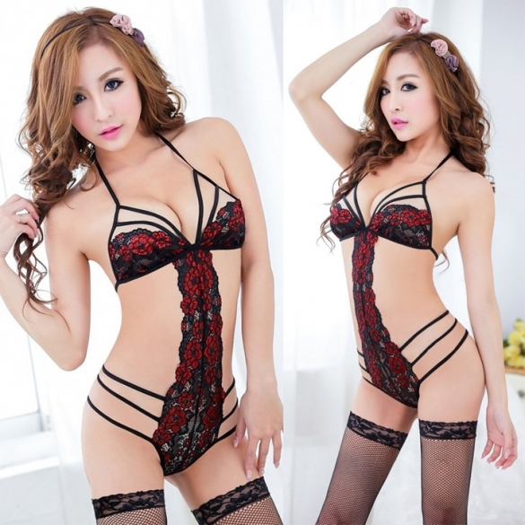 Women Sexy Lingerie Halter Night Sleepwear Lace Teddy Bodysuit Sexy Lingerie Underwear