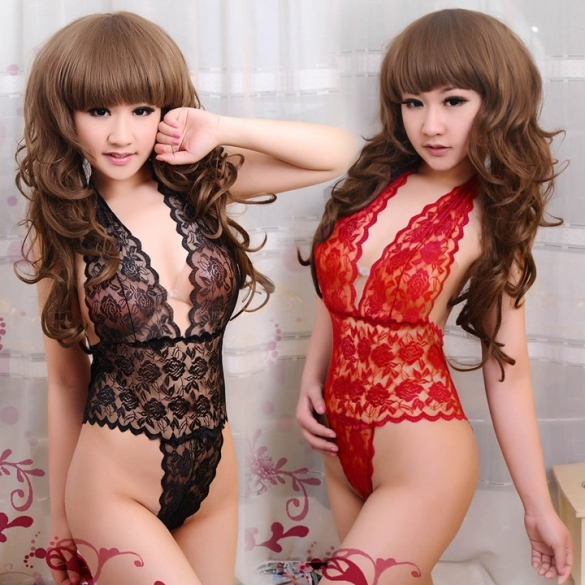 New Fashion Lady Women's Sexy Lace Deep V-Neck Halter Bow Clubwear Sleepwear Lingerie