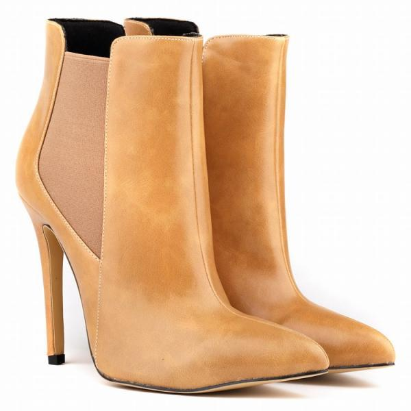 Faux Leather Pointed-Toe High Heel Ankle Boots