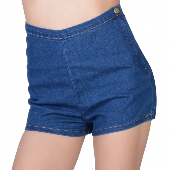 Women Girl Slim High Waist Jeans Denim Tap Short Pants Tight A Side Button Hotsale