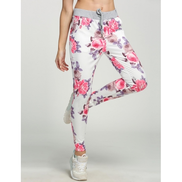 New Fashion Women Elastic Drawstring Waist Pants Floral Print Casual Sports Slim Leg Full Trousers