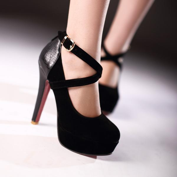 Round Head High Platform Working Women's Heels Shoes