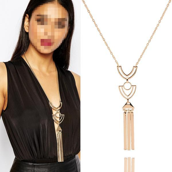 Retro Metal Tassel Long Sweater Chain Necklace