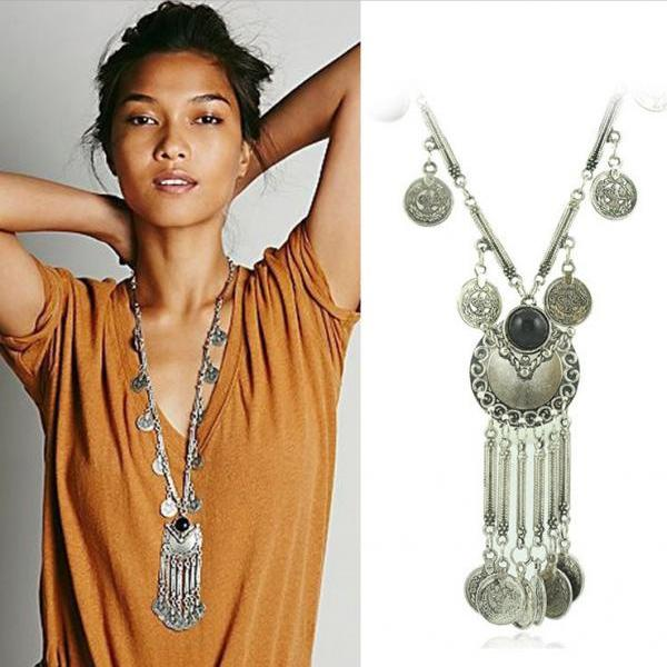 Exaggerated Coin Tassels Long Necklace