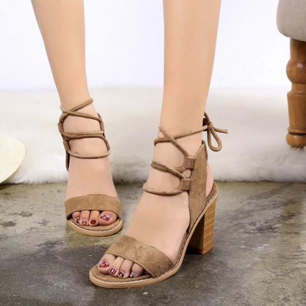 Cross Strap Peep Toe High-Heeled Sandals