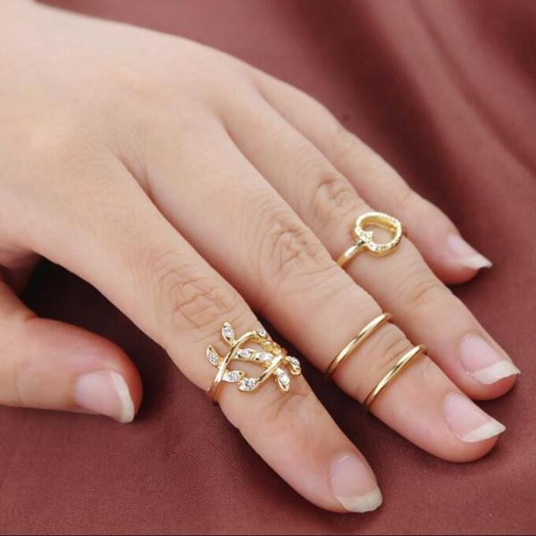 Crystal Heart-Shaped Leaves Loops Four-Piece Ring Set