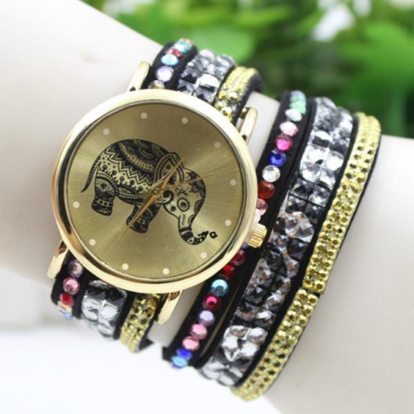 Colorful Beads Strap Elephant Watch