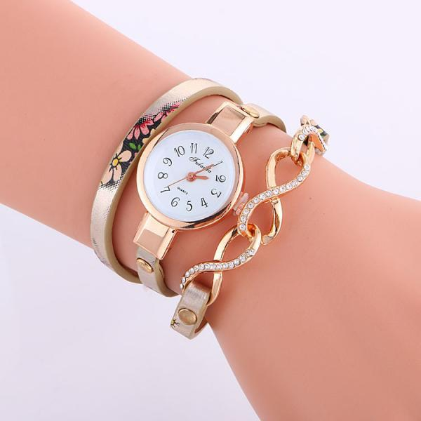 Flower Print Crystal 8 Chain Watch