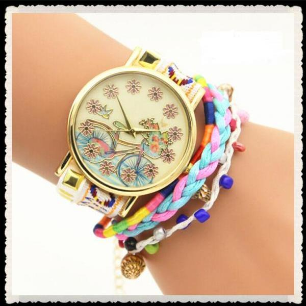 Personality Bike Print Woven Bracelet Watch
