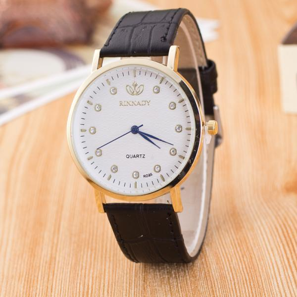 Classic Crystal Dial Leather Watch