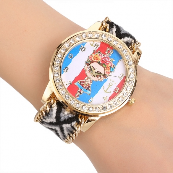 Women's Handmade Braided Friendship Bracelet Watch Round Dial Quartz Wristwatch