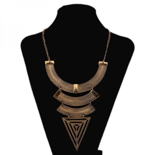 Retro geometric triangle big Pendant Necklace