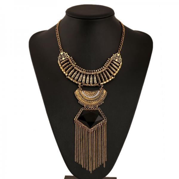 Retro long tassel gem diamond necklace