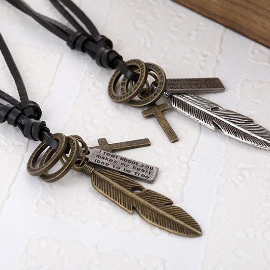 European and American popular alloy feather cowhide Necklace