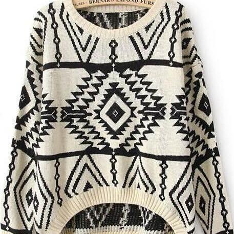 Geometric Argyle Long-Sleeved Loose Knit Scoop Pullover Sweater