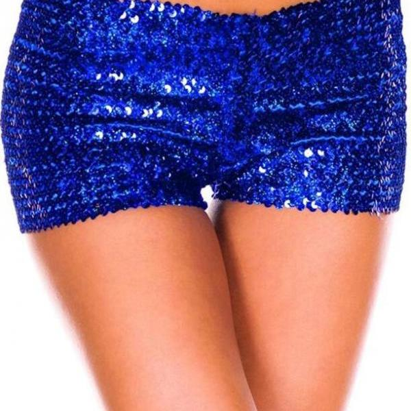 Sexy Pure Color Low Waist Sequins Shorts